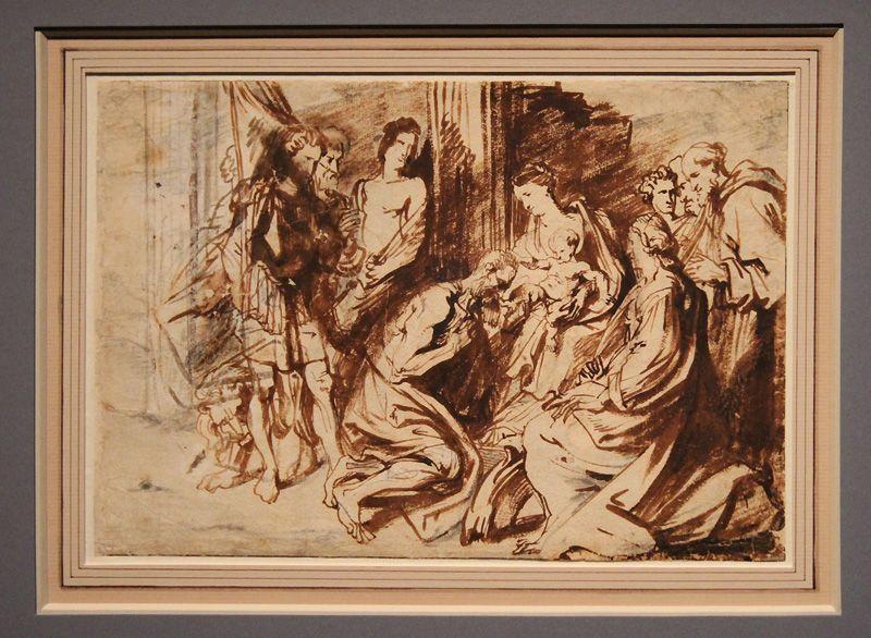 Antonis van Dyck, Maria und das Kind werden von Heiligen verehrt, um 1619-21, Kreide und Pinsel, Installationsansicht in der Albertina, Foto: Alexandra Matzner.