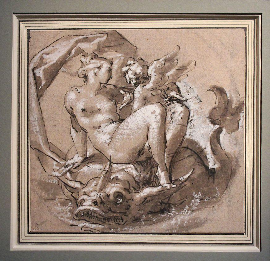 Bartholomäus Spranger, Venus und Amor auf einem Delfin, um 1580-1585, Feder, Kohle, Lavierung und Höhung, Installationsansicht in der Albertina, Foto: Alexandra Matzner.