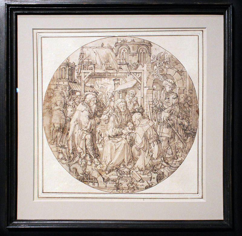 Dirck Vellert, Die Anbetung der Könige, 1532, Federzeichnung laviert, Installationsansicht in der Albertina, Foto: Alexandra Matzner.