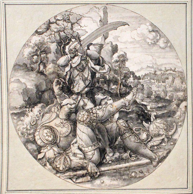 Dirck Vellert, David und Goliath, um 1523, Federzzeichnung laviert, Installationsansicht in der Albertina, Foto: Alexandra Matzner.