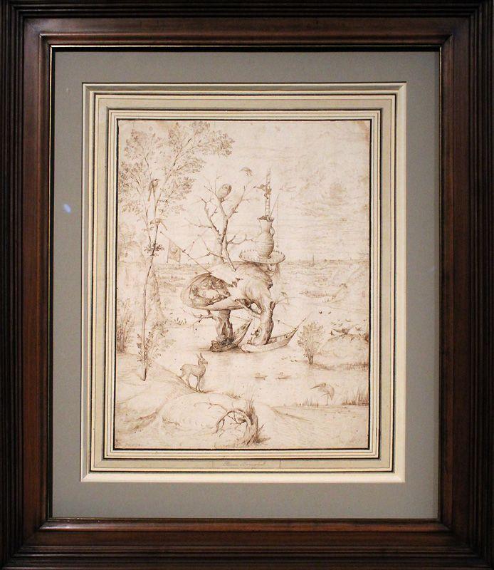 Hieronymus Bosch, Der Baum-Mann (gesamt), um 1500-1510, Feder, Installationsansicht in der Albertina, Foto: Alexandra Matzner.