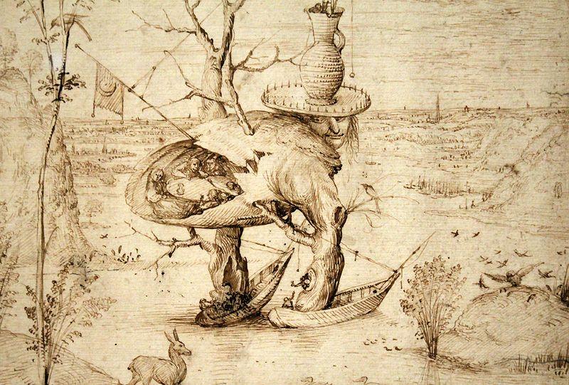 Hieronymus Bosch, Der Baum-Mann (Detail), um 1500-1510, Feder, Installationsansicht: Alexandra Matzner.