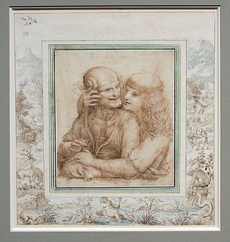 Jacob Hoefnagel, Ungleiches Paar in einer Landschaftsumrahmung, 1602, Feder, Lavierung, Installationsansicht in der Albertina, Foto: Alexandra Matzner.