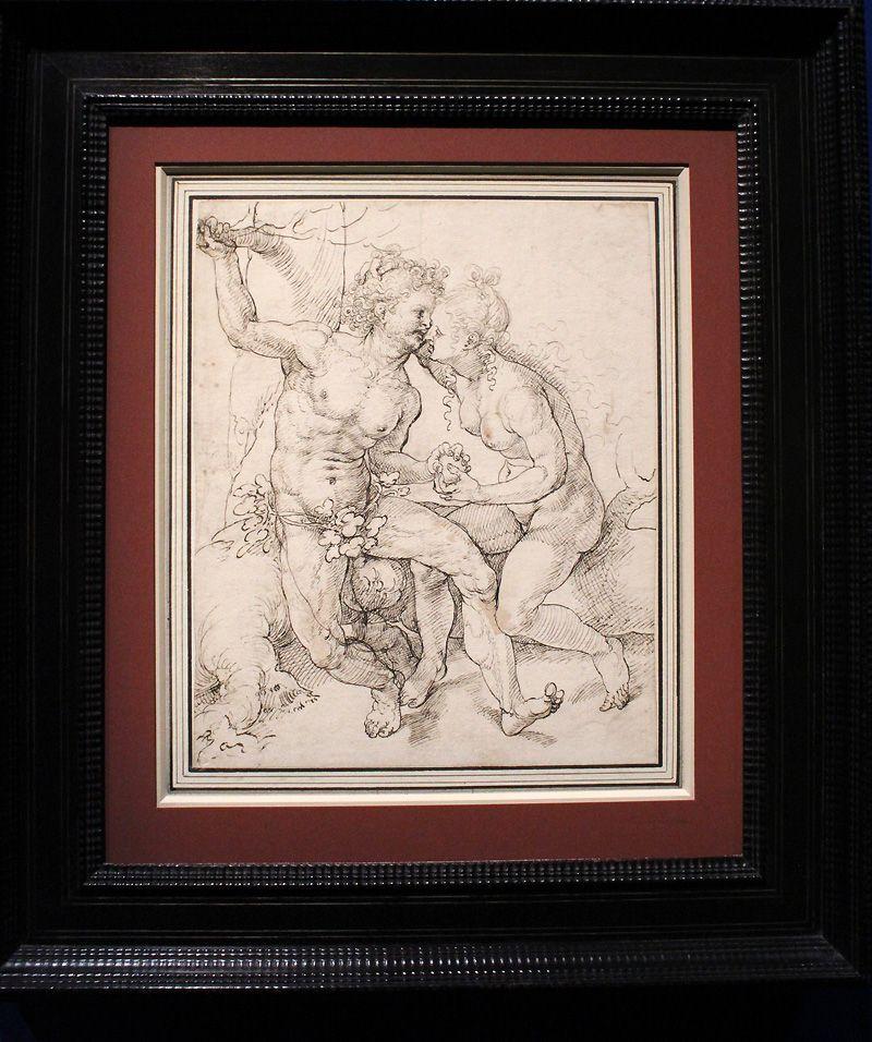 Jan Gossaert, Der Sündenfall, um 1520-25, Feder, Installationsansicht in der Albertina, Foto: Alexandra Matzner.