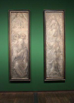 Jan de Beer, Wurzel Jesse, um 1515-1520, Feder in Grau, Deckweiß, getöntes Papier, Installationsansicht in der Albertina, Foto: Alexandra Matzner.
