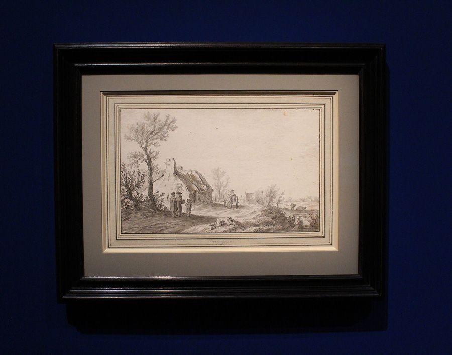 Jan van Goyen, Landstraße mit Einspänner vor einem Gehöft, 1626, Kreide, grau laviert, Installationsansicht in der Albertina, Foto: Alexandra Matzner,