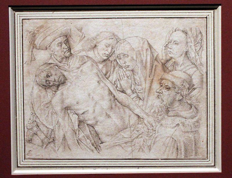 Kopie nach Hugo van der Goes, Beweinung Christi, um 1500, Federzeichnung, Installationsansicht in der Albertina, Foto: Alexandra Matzner.