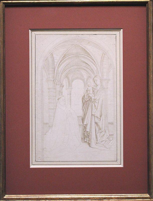 Kopie nach Jan van Eyck (südniederländisch), Madonna mit Stifter, um 1430, Silberstift, Installationsansicht in der Albertina, Foto: Alexandra Matzner.