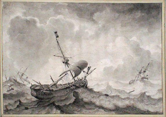 Ludolf Bakhuizen, Schiffe auf stürmischer See, 1698, Pinsel laviert, Installationsansicht in der Albertina, Foto: Alexandra Matzner.