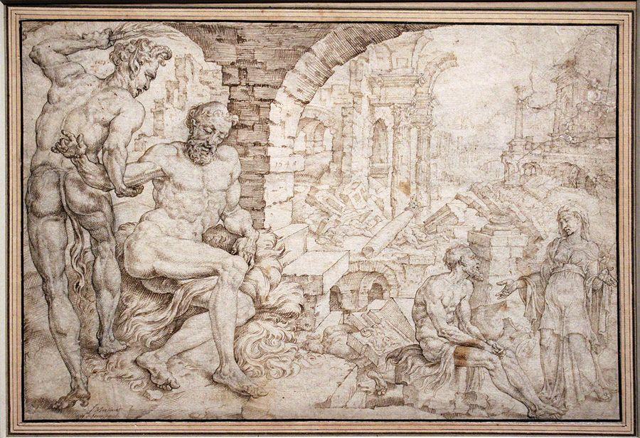 Maarten van Heemskerck, Hiob von Satan gepeinigt, 1548, Feder, Installationsansicht in der Albertina, Foto: Alexandra Matzner.