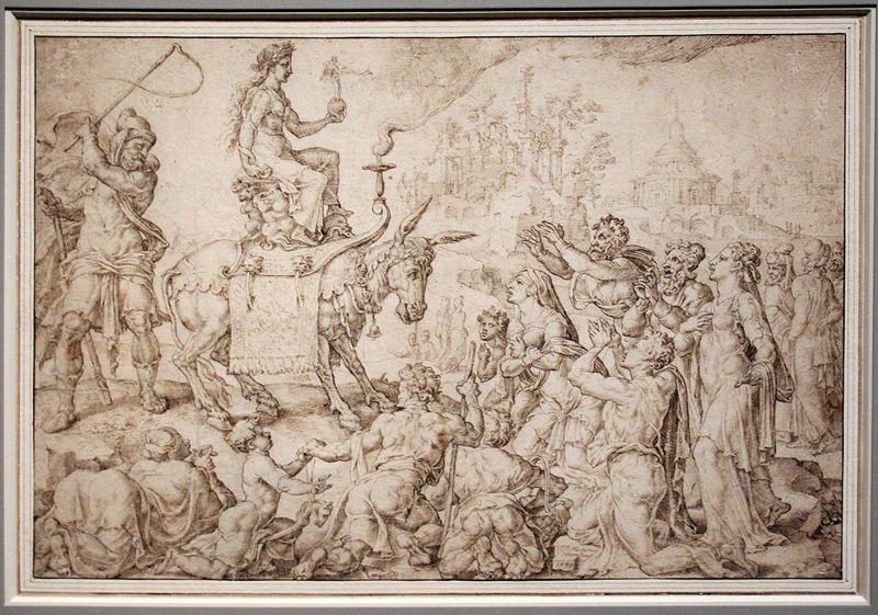 Maarten van Heemskerck, Der Isiskult, 1548, Feder, Installationsansicht in der Albertina, Foto: Alexandra Matzner.