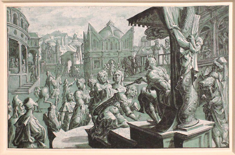 Meister des Liechtensteinschen Kabinetts, Esther vor Ahasver, um 1550, Feder und Pinsel, Installationsansicht in der Albertina, Foto: Alexandra Matzner.