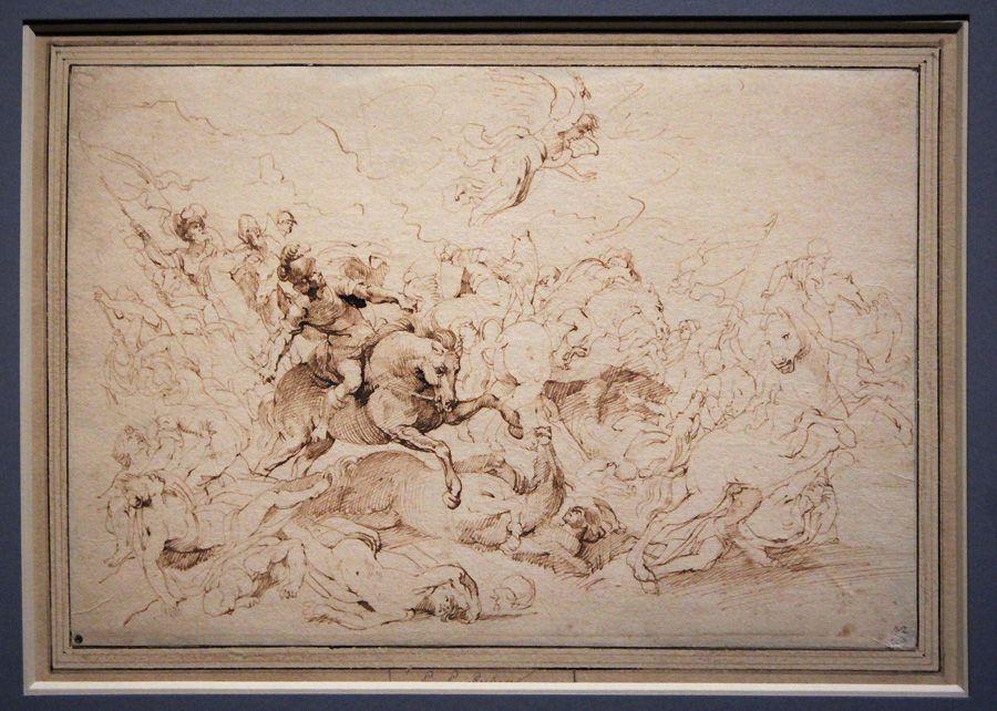 Peter Paul Rubens, Die Niederlage des Sanherib, um 1615, Feder, Installationsansicht in der Albertina, Foto: Alexandra Matzner.