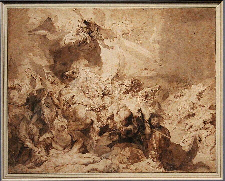 Peter Paul Rubens, Die Niederlage des Sanherib, um 1617, Feder, Installationsansicht in der Albertina, Foto: Alexandra Matzner.