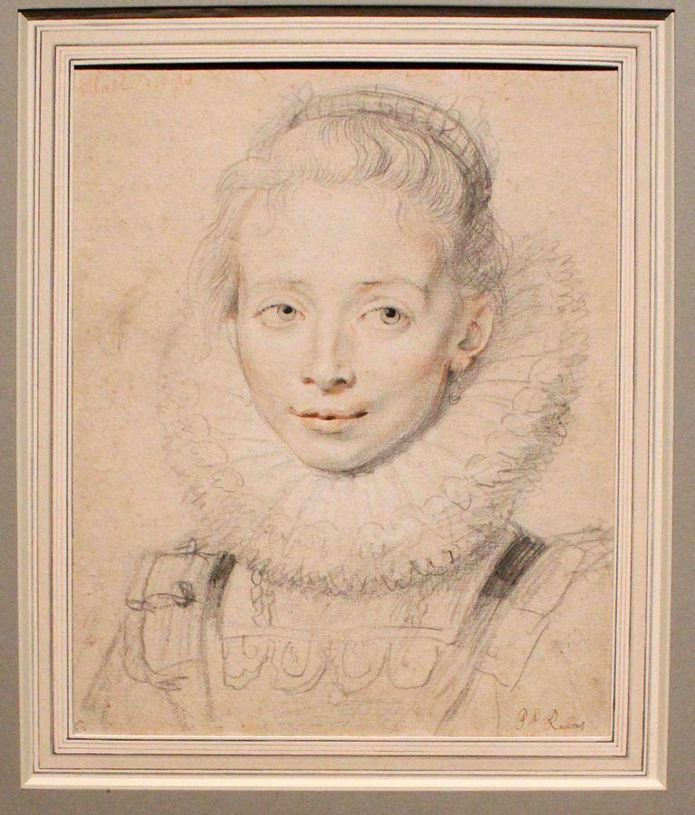 Peter Paul Rubens, sog Ehrendame der Infantin Isabella (Clara Serena?), um 1623, Kreide, Installationsansicht in der Albertina, Foto: Alexandra Matzner.
