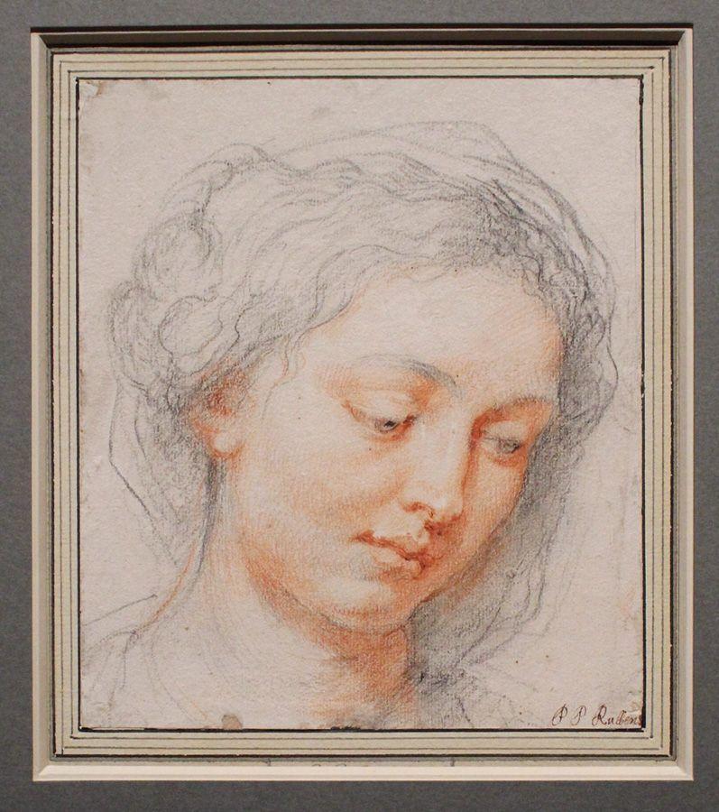 Peter Paul Rubens, Kopf einer jungen Frau mit gesenktem Blick, um 1630-31, Kreide, Installationsansicht in der Albertina, Foto: Alexandra Matzner.