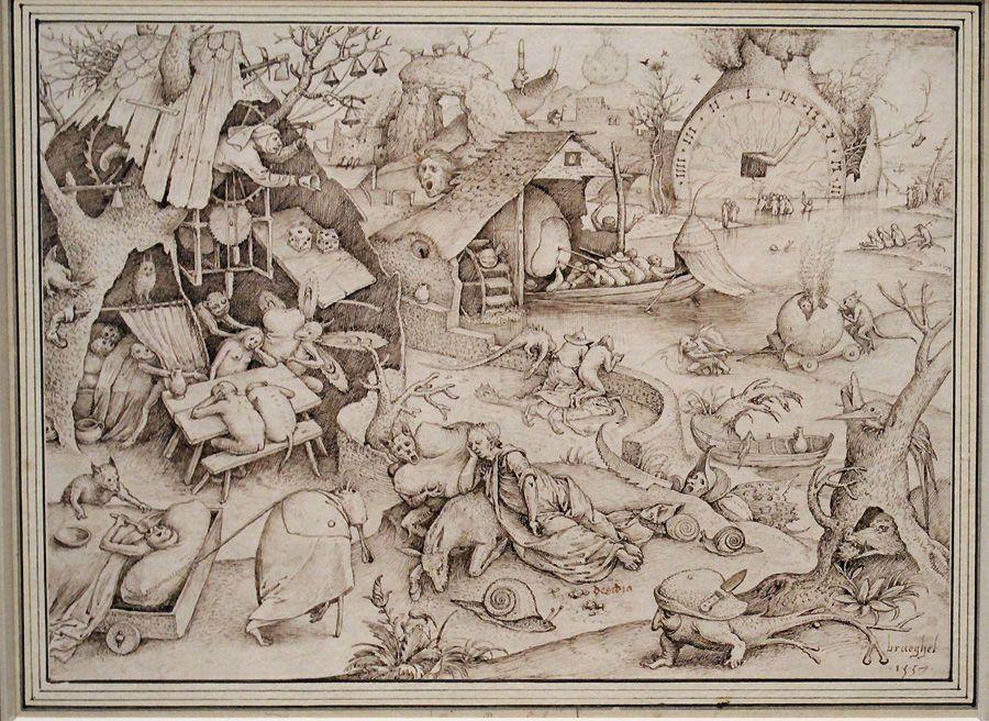 Pieter Bruegel der Ältere, Desidia (Die Trägheit), 1557, Feder, Installationsansicht in der Albertina, Foto: Alexandra Matzner.