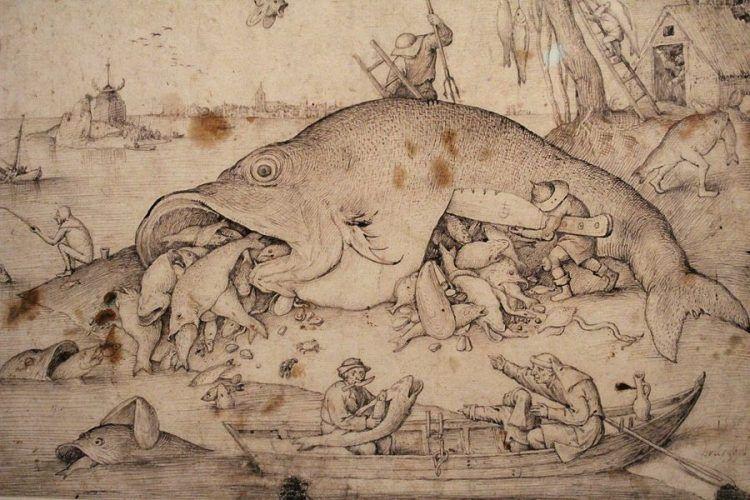 Pieter Bruegel der Ältere, Die großen Fische fressen die kleinen, Detail, 1556, Feder und Pinsel, Foto: Alexandra Matzner.