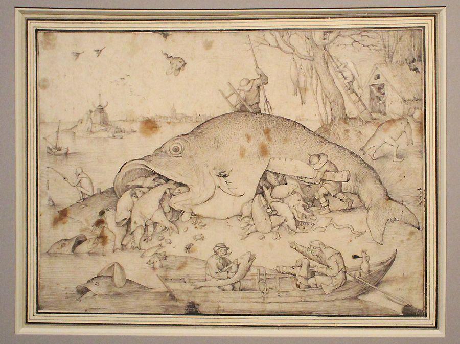 Pieter Bruegel der Ältere, Die großen Fische fressen die kleinen, Detail, 1556, Feder und Pinsel, Installationsansicht in der Albertina, Foto: Alexandra Matzner.