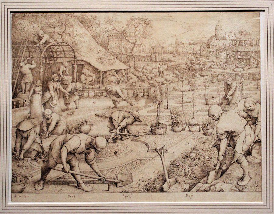 Pieter Bruegel der Ältere, Der Frühling, 1565, Feder, Installationsansicht in der Albertina, Foto: Alexandra Matzner.