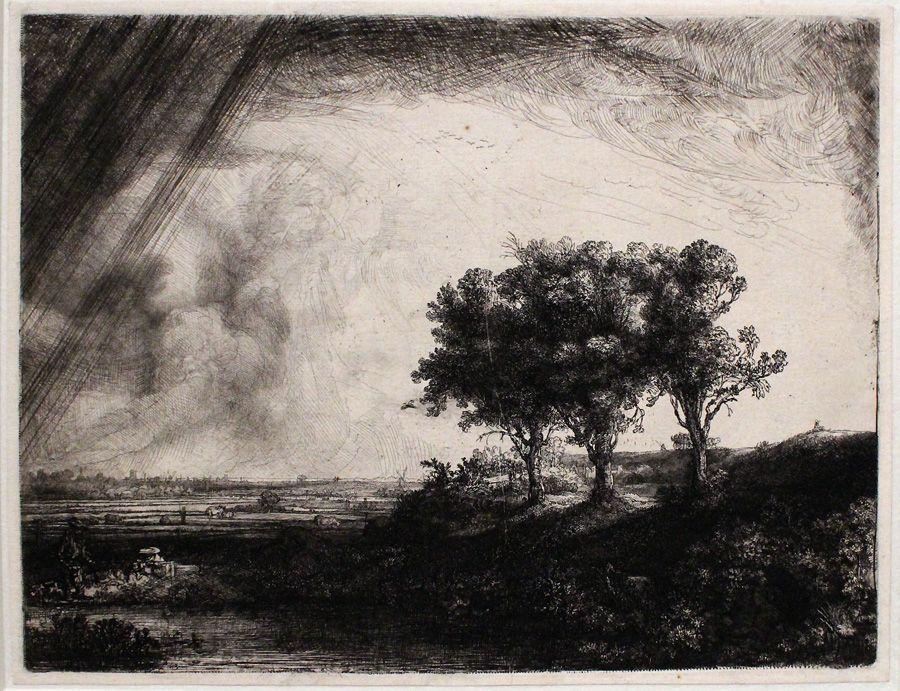 Rembrandt, Die Landschaft mit den drei Bäumen, 1643, Radierung, Installationsansicht in der Albertina, Foto: Alexandra Matzner.