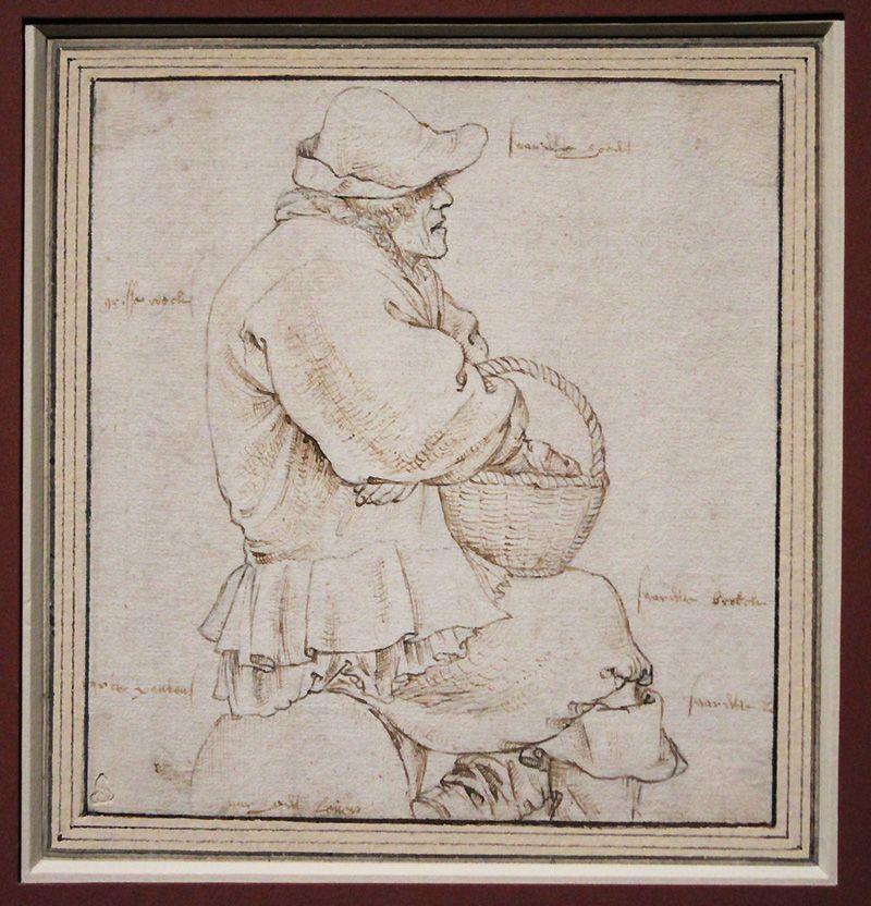 Roelant Savery, Sitzender Marktbauer, um 1600, Feder, Installationsansicht in der Albertina, Foto: Alexandra Matzner.