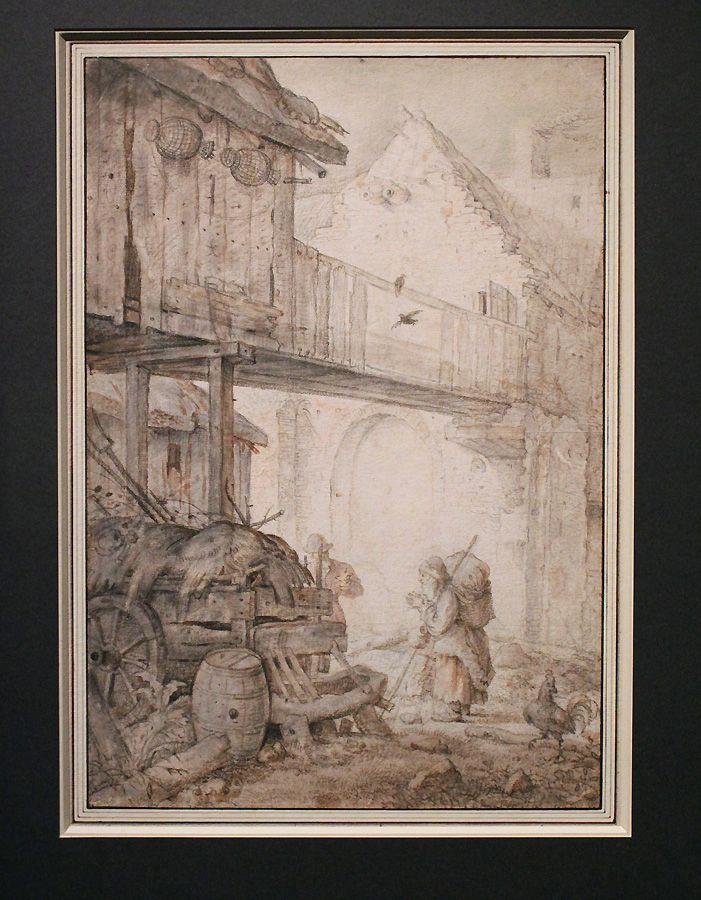 Roelant Savery, Verfallener Innenhof mit Bettlerin, um 1608, Feder, Installationsansicht in der Albertina, Foto: Alexandra Matzner.