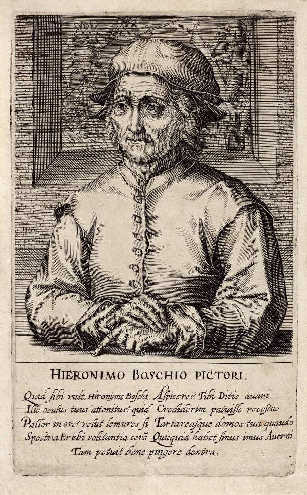 Hendrik Hondius (1573–1650), Hieronymus Bosch, 1610, aus der Serie: Pictorum aliquot celebrium praecipué Germaniae inferioris effigies [Bildnisse berühmter Maler vor allem aus Niedergermanien] (Kupferstich-Kabinett, Staatliche Kunstsammlungen Dresden)