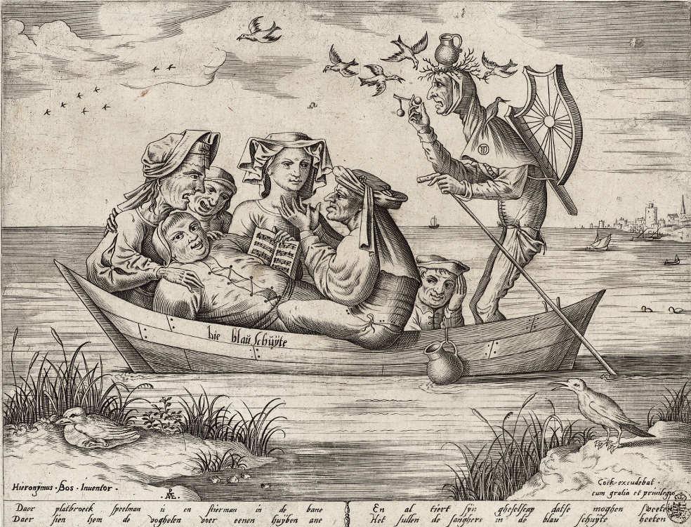 Pieter van der Heyden (1530–1572) nach (?) Hieronymus Bosch (um 1450–1516), Die blaue Schute, 1559 (Kupferstich-Kabinett, Staatliche Kunstsammlungen Dresden)