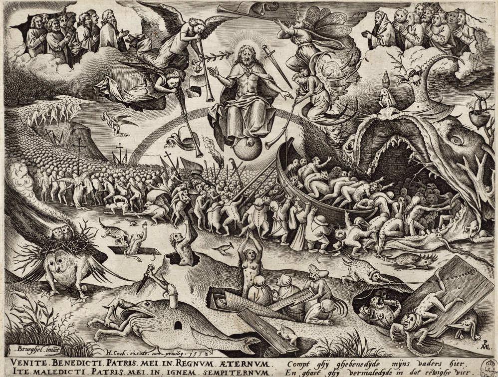 Pieter van der Heyden (1530–1572) nach Pieter Bruegel d. Ä. (1525–1569), Das Jüngste Gericht, 1558 (Kupferstich-Kabinett, Staatliche Kunstsammlungen Dresden)