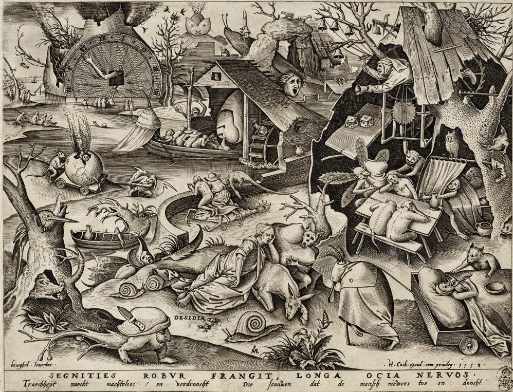 Pieter van der Heyden (1530–1572) nach Pieter Bruegel d. Ä. (1525–1569), Desidia – Die Trägheit, aus der Serie: Die sieben Todsünden, 1558 (Kupferstich-Kabinett, Staatliche Kunstsammlungen Dresden)