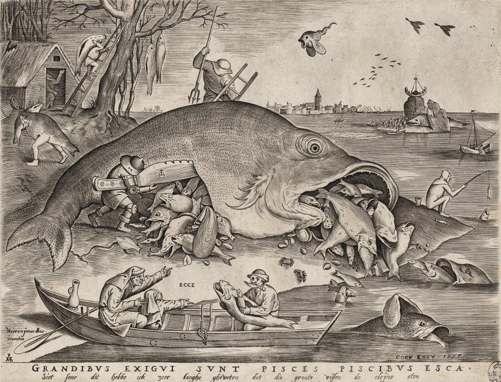 Pieter van der Heyden (1530–1572) nach Pieter Bruegel d. Ä. (1525–1569), Die großen Fische fressen die kleinen, 1557 (Kupferstich-Kabinett, Staatliche Kunstsammlungen Dresden)