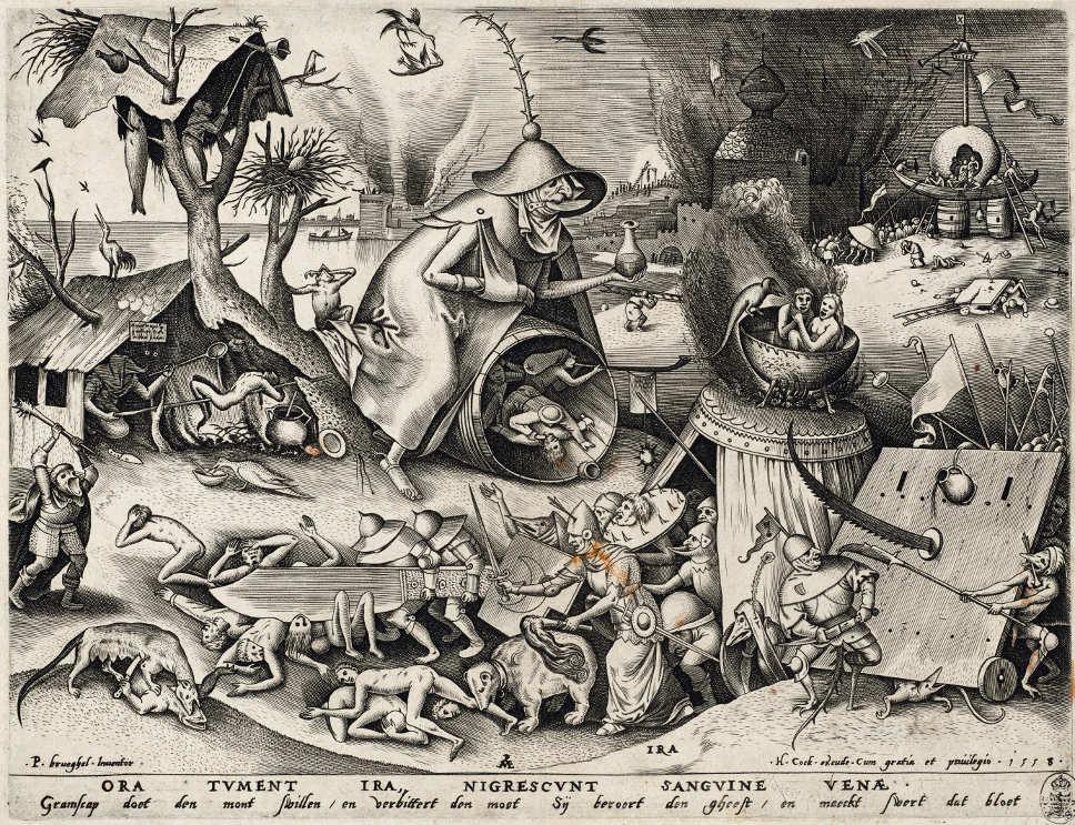 Pieter van der Heyden (1530–1572) nach Pieter Bruegel d. Ä. (1525–1569), Ira – Der Zorn, aus der Serie: Die sieben Todsünden, 1558 (Kupferstich-Kabinett, Staatliche Kunstsammlungen Dresden)