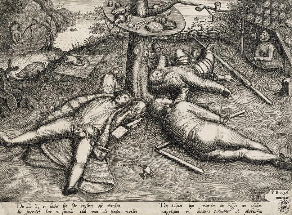 Pieter van der Heyden (1530–1572), zugeschrieben, nach Pieter Bruegel d. Ä. (1525–1569), Das Schlaraffenland, nach 1570 (?) (Kupferstich-Kabinett, Staatliche Kunstsammlungen Dresden)