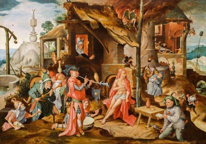 Jan Mandyn (1502–um 1560), Die Verspottung des Hiob, 16. Jahrhundert (Privatsammlung, Niederlande, by courtesy of Hoogsteder & Hoogsteder, Den Haag)