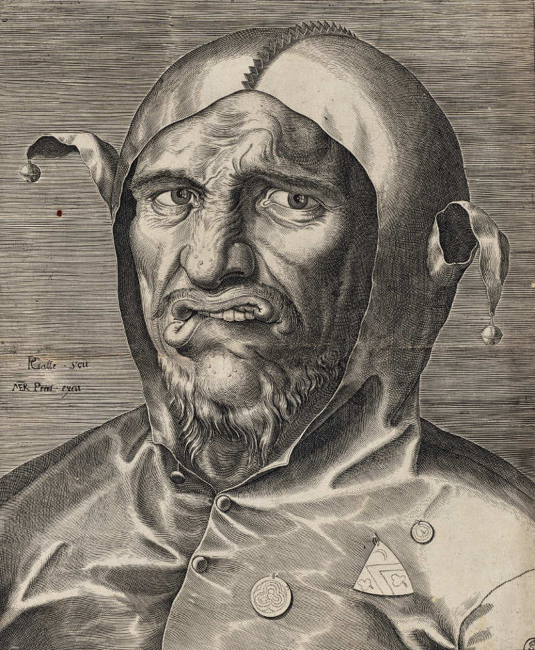 Philips Galle (1537–1612), Kopf eines Narren, um 1560 (Kupferstich-Kabinett, Staatliche Kunstsammlungen Dresden)
