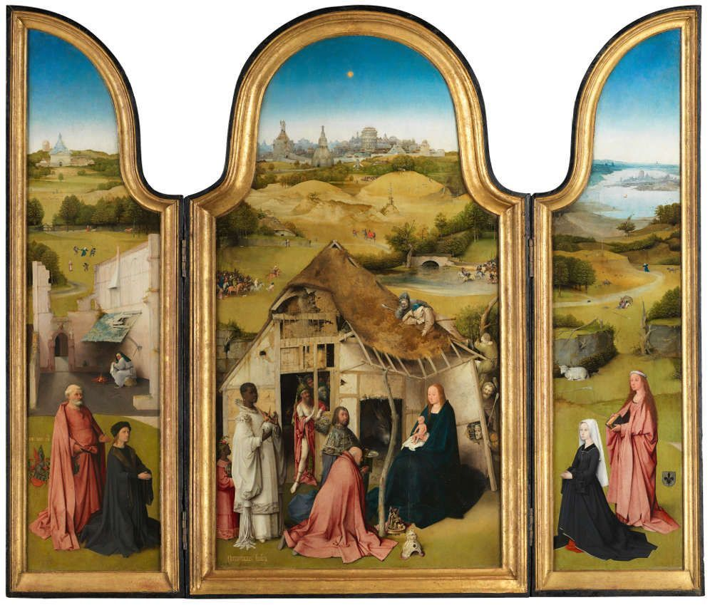 Hieronymus Bosch, Die Anbetung der hl. drei Könige, Triptychon, um 1494, Öl auf Holz, 133 x 71 cm (Mitteltafel); 135 x 33 cm (linke und rechte Tafeln) (Museo Nacional del Prado, Madrid)