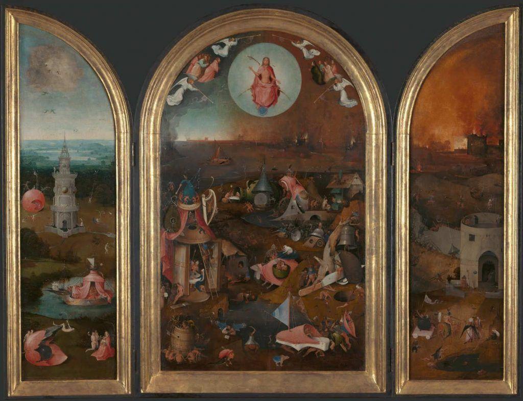 Hieronymus Bosch, Das Jüngste Gericht, Triptychon, um 1505–1515, Öl auf Holz, 99.2 x 60.5 cm (Mitteltafel); 99.5 x 28.8 cm (linke Tafel); 99.5 x 28.6 cm (rechte Tafel) (Groeningemuseum, Brügge)