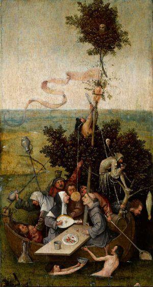 Hieronymus Bosch, Das Narrenschiff, Öl auf Holz, 58.1 x 32.8 cm (Paris, Musée du Louvre, département des Peintures. Don de Camille Benoit, 1918)