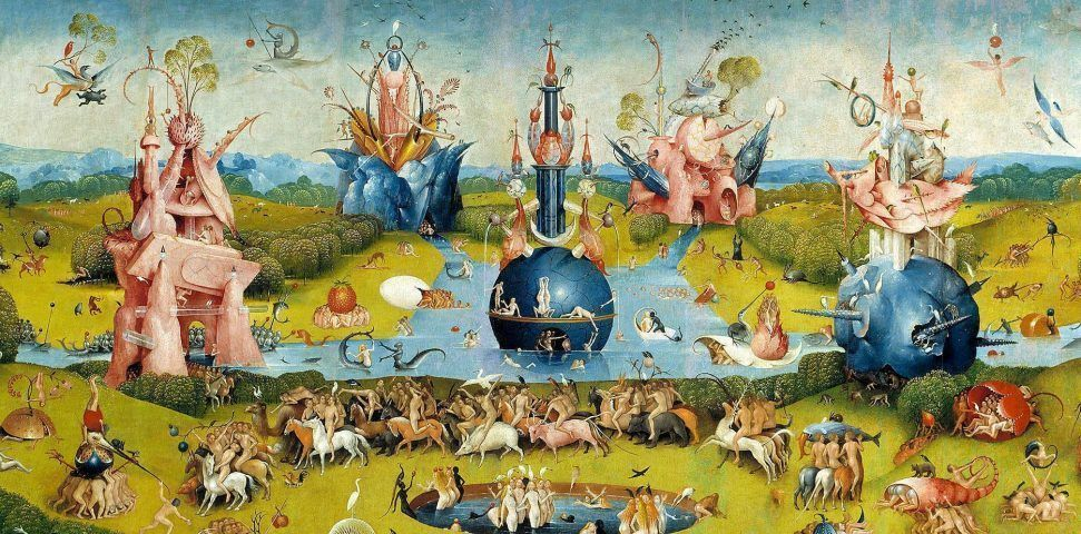 Hieronymus Bosch, Der Garten der Lüste, um 1490–1500, Mitteltafel: Lebensbrunnen (Madrid, Museo Nacional del Prado. Depósito de Patrimonio Nacional)