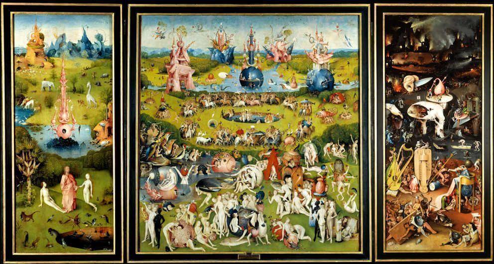 Hieronymus Bosch, Der Garten der Lüste, Triptychon, um 1490–1500, Öl auf Holz, 185.8 x 172.5 cm (Mitteltafel); 185.8 x 76.5 cm (linke und rechte Tafel) (Madrid, Museo Nacional del Prado. Depósito de Patrimonio Nacional)