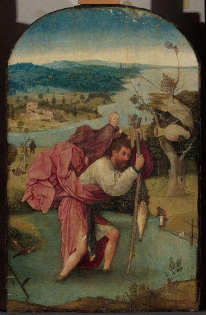 Hieronymus Bosch, Hl. Christopherus trägt das Christuskind, um 1490–1500, Öl auf Holz, 112.7 x 71.8 cm (Museum Boijmans Van Beuningen/Koenigs Collection, Rotterdam)