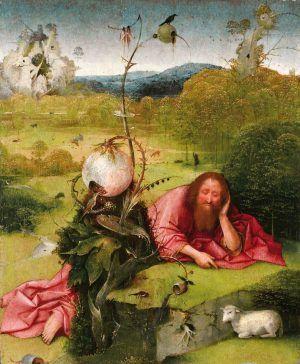 Hieronymus Bosch, Hl. Johannes der Täufer in der Wüste, 1485–1510, Öl auf Holz, 48 x 40 cm (Fundación Lázaro Galdiano, Madrid)