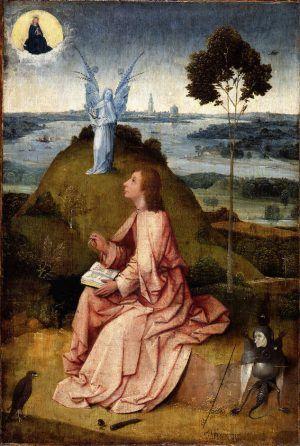 Hieronymus Bosch, Hl. Johannes Evangelista auf Patmos / Die Passion Christi, um 1505, Öl auf Holz, 63 x 43.3 cm (Staatliche Museen zu Berlin, Gemäldegalerie, Berlin)