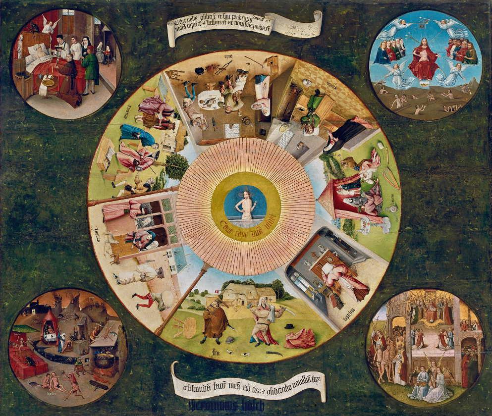 Werkstatt oder Nachfolger Hieronimus Bosch, Die sieben Hauptsünden und die vier letzten Dinge, um 1510–1520, Öl auf Pappelholz, 120 x 150 cm, Signiert unten Mitte: jheronimus bosch (Museo Nacional del Prado, Madrid, Inv.-Nr. 2822 / Leihgabe des Patrimonio Nacional)