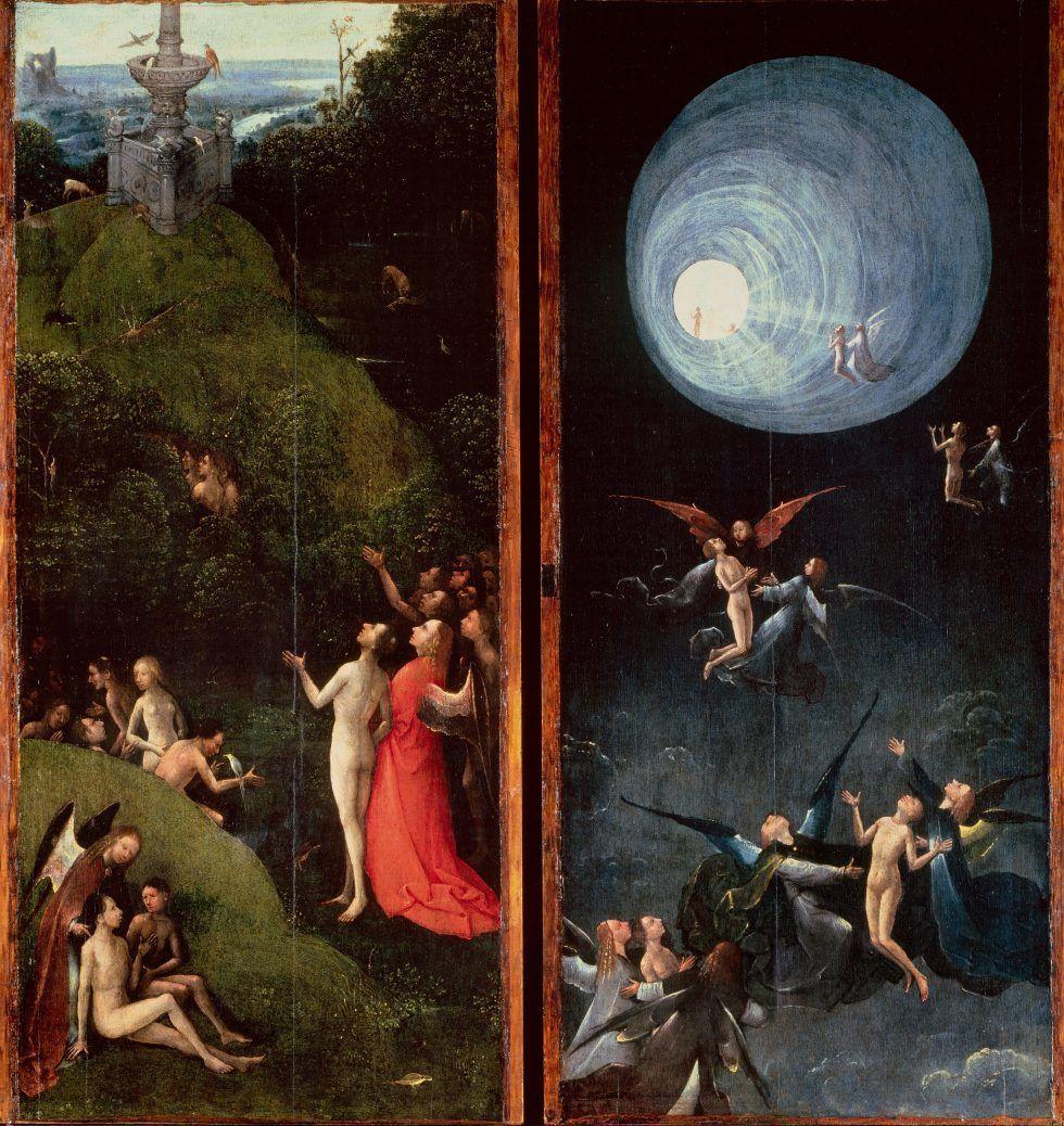 Hieronymus Bosch, Visionen des Jenseits: Der Aufstieg der Gesegneten, 1505–1515, 88.8 x 39.9 cm (Venice, Gallerie dell'Accademia)