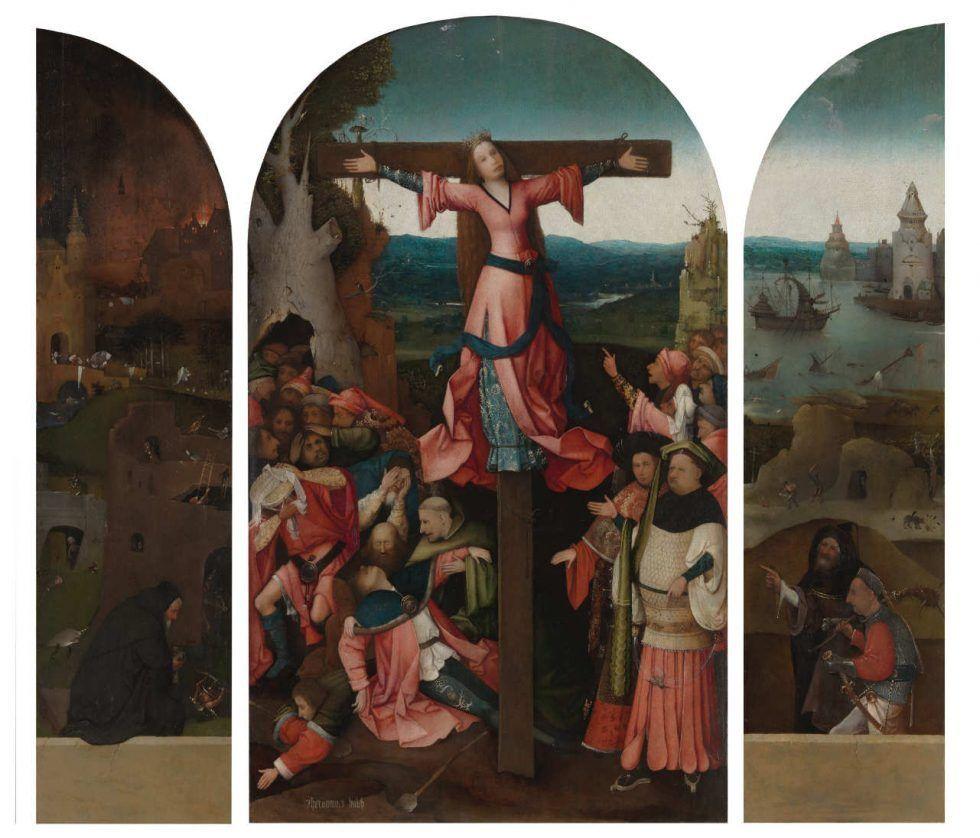 Hieronymus Bosch, Triptychon der hl. Wilgefortis, Öl auf Holz, 105.2 x 62.7 cm (Mitteltafel); 105 x 27.5 cm (linke Tafel); 104.7 x 27.9 cm (rechte Tafel), um 1495–1505 (Gallerie dell'Accademia, Venedig)