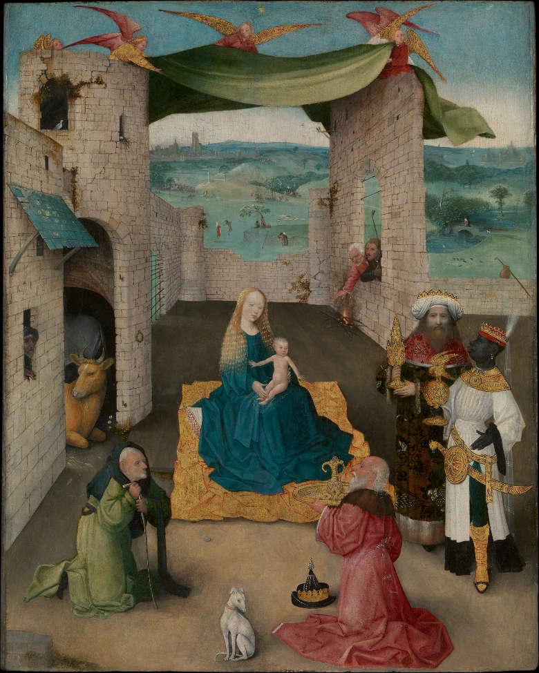 Hieronymus Bosch, Die Anbetung der hl. drei Könige, um 1475, Öl und Gold auf Eiche, 71.1 x 56.5 cm (Metropolitan Museum, John Stewart Kennedy Fund, 1913, New York, Inv.-Nr. 13.26)