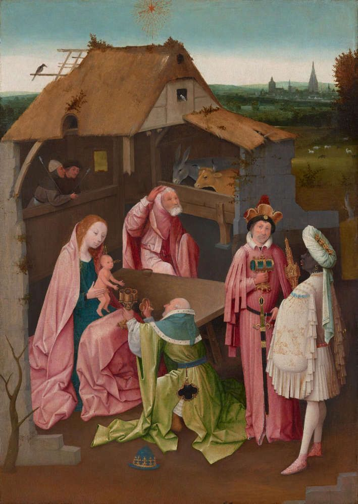 Hieronymus Bosch, Die Anbetung der hl. drei Könige, Öl auf Holz, 77.5 × 55.9 cm (Philadelphia Museum of Art, John G. Johnson Collection, 1917, Philadelphia, Inv.-Nr. Inv. 1321)
