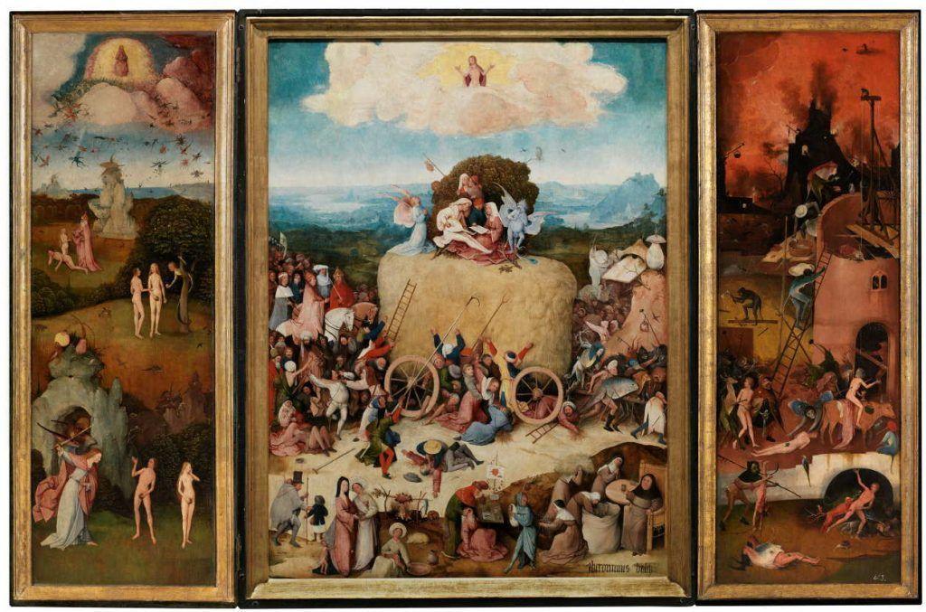 Hieronymus Bosch, Der Heuwagen, Triptychon, 1512–1515, Öl auf Holz, 133 x 100 cm (Mitteltafel); 136.1 x 47.7 cm (linke Tafel); 136.1 x 47.6 cm (rechte Tafel) (Madrid, Museo Nacional del Prado)